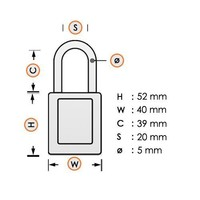 Aluminum safety padlock with brown cover 74BS/40 BRAUN