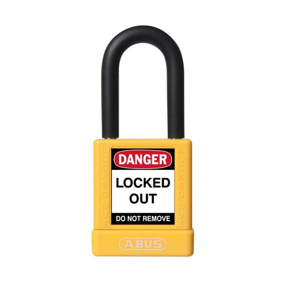 Aluminum safety padlock with yellow cover 74/40 GELB