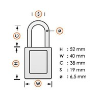 Aluminium veiligheidshangslot met gele cover 74/40 GELB