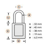 Aluminium veiligheidshangslot met oranje cover 74/40 ORANGE