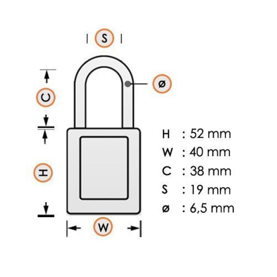 Aluminium veiligheidshangslot met paarse cover 74/40 LILA