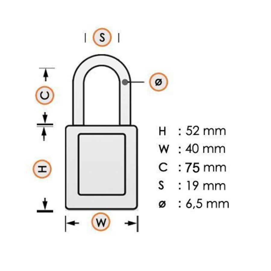 Aluminium veiligheidshangslot met rode cover 74/40HB75 ROT