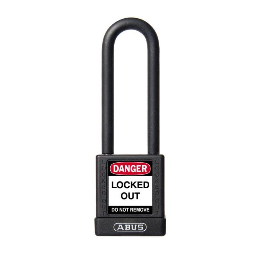 Aluminium veiligheidshangslot met zwarte cover 74/40HB75 SCHWARZ