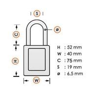 Aluminium veiligheidshangslot met oranje cover 74/40HB75 ORANGE