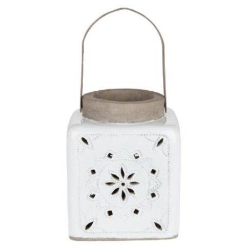 Windlicht weiß aus Keramik