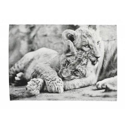 Tischset Löwenjungen schwarz/weiß aus Baumwolle
