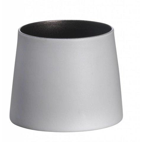 Teelicht weiß/dunkelsilber aus Porzellan