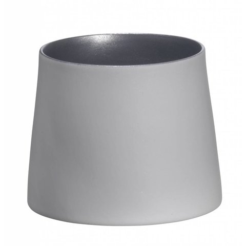 Teelicht weiß/hellsilber aus Porzellan