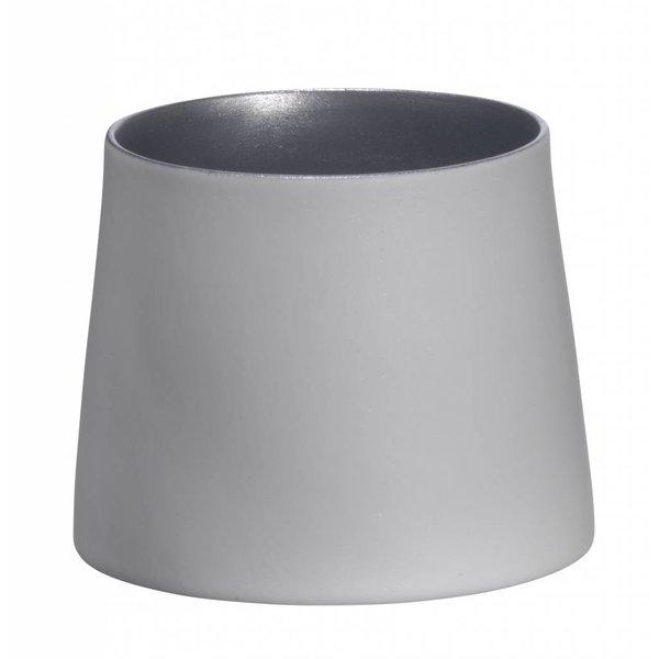 Madam Stoltz Teelicht weiß/hellsilber aus Porzellan