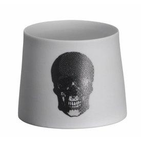 Madam Stoltz Teelicht mit Totenkopf schwarz aus Porzellan