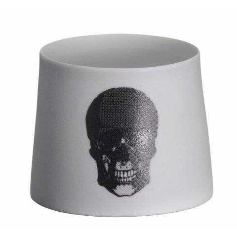Teelicht mit Totenkopf schwarz aus Porzellan