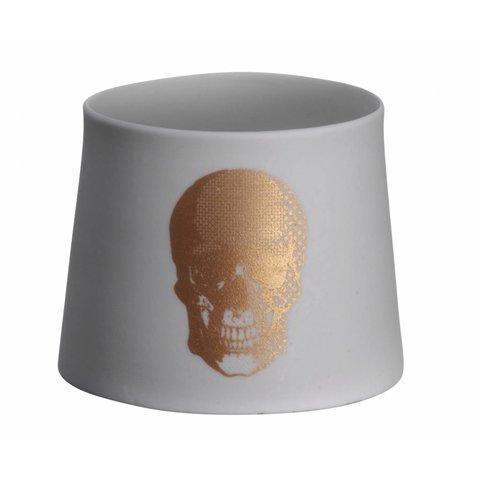 Teelicht mit Totenkopf bronze aus Porzellan