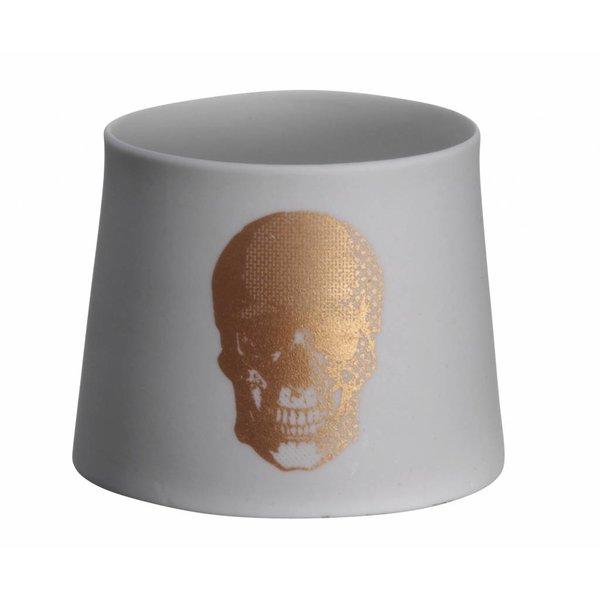 Madam Stoltz Teelicht mit Totenkopf bronze aus Porzellan