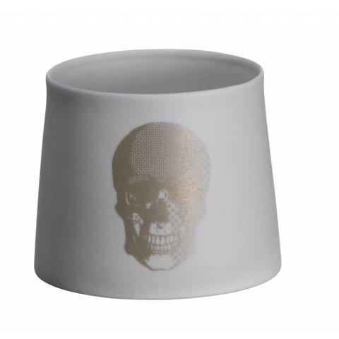 Teelicht mit Totenkopf silber aus Porzellan