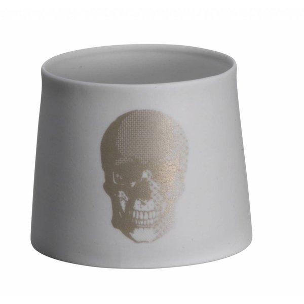Madam Stoltz Teelicht mit Totenkopf silber aus Porzellan