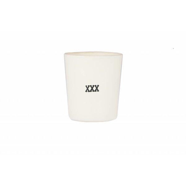 """SERAX Teelichthalter """"XXX"""" naturweiß/schwarz aus Glas"""