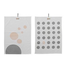 Bloomingville Geschirrtücher 2er Set weiß mit grau/rosa