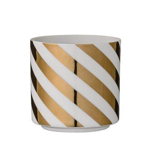 Porzellanwindlicht weiß mit goldenen Streifen