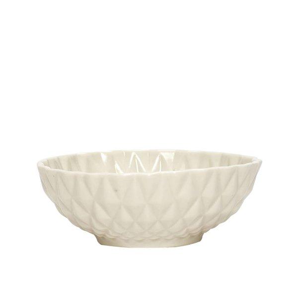 Hübsch Interior Kleine Schale weiß mit Muster aus Porzellan
