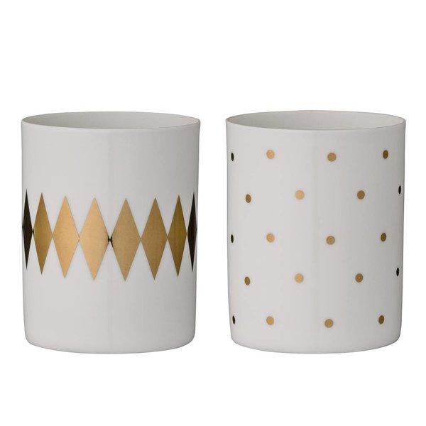 Bloomingville Teelichthalter 2er Set weiß/gold
