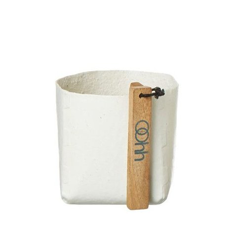 Behälter weiß aus Papier und Naturgummi