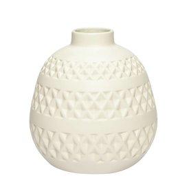 Hübsch Interior Vase naturweiß aus Keramik mit Muster