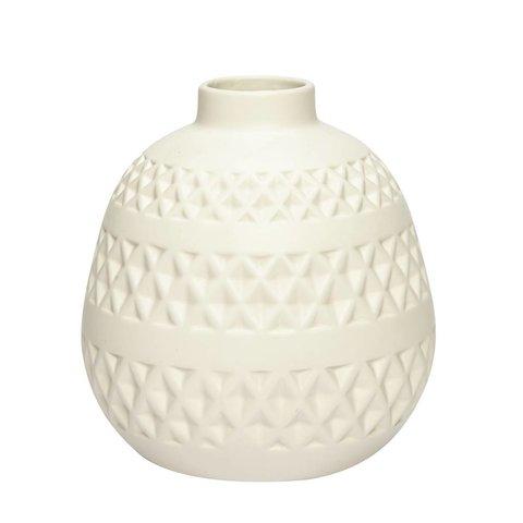 Vase naturweiß aus Keramik mit Muster