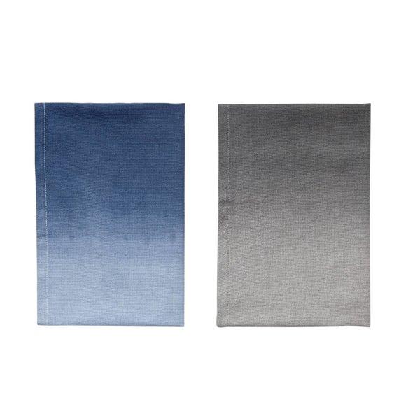 Hübsch Interior Geschirrtuch 2er Set blau/grau