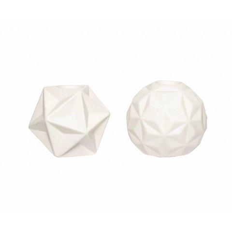 Kerzenständer 2er Set weiß aus Keramik