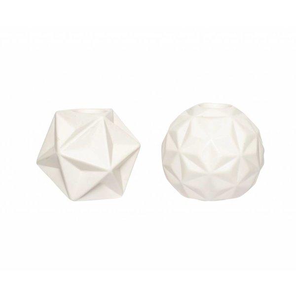 Hübsch Interior Kerzenständer 2er Set weiß aus Keramik
