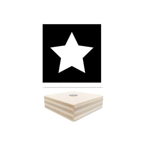 Magnet schwarz mit Stern aus Holz