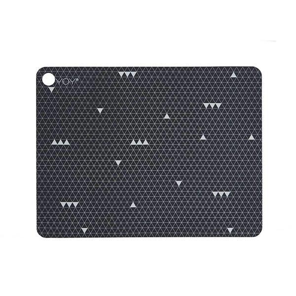 OyOy Tischset Linien 2er Set schwarz/weiß aus Silikon