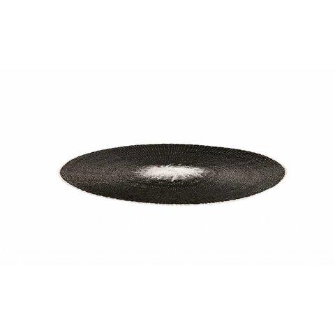 Tischset rund schwarz / weiß aus Papier