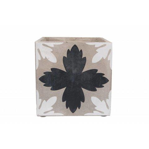 Blumenübertopf weiß/schwarz aus Beton
