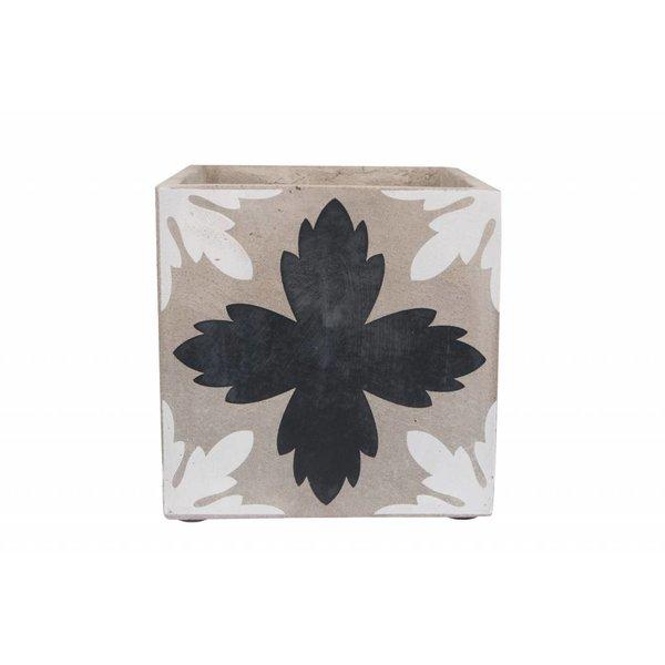 SERAX Blumenübertopf weiß/schwarz aus Beton