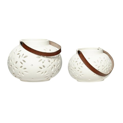 Laterne 2er Set weiß aus Keramik mit Lederhenkel