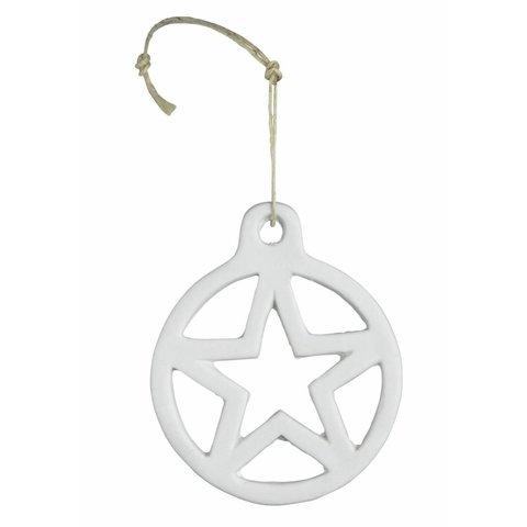 Porzellanhänger Kugel mit Stern weiß