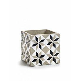 SERAX Blumenübertopf schwarz/weiß aus Beton
