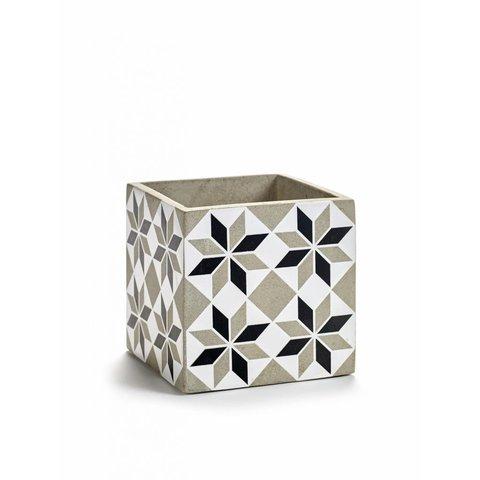 Blumenübertopf schwarz/weiß aus Beton