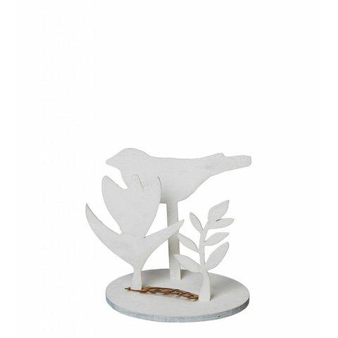 Deko mit Vogel weiß aus Holz