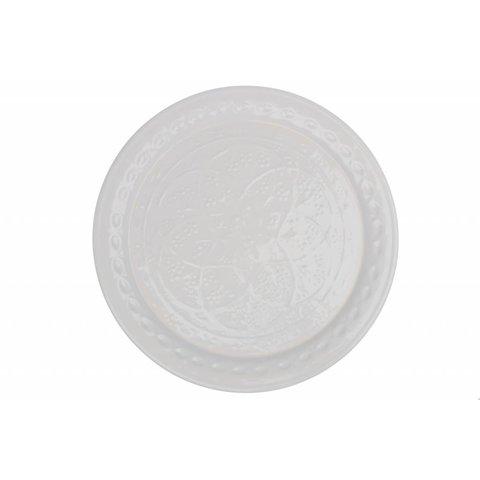 Tablett weiß verziert aus Metall