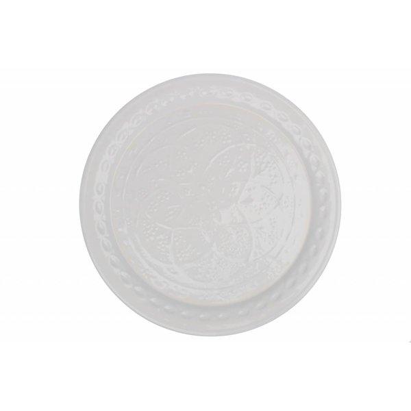 Blossom Tablett weiß verziert aus Metall
