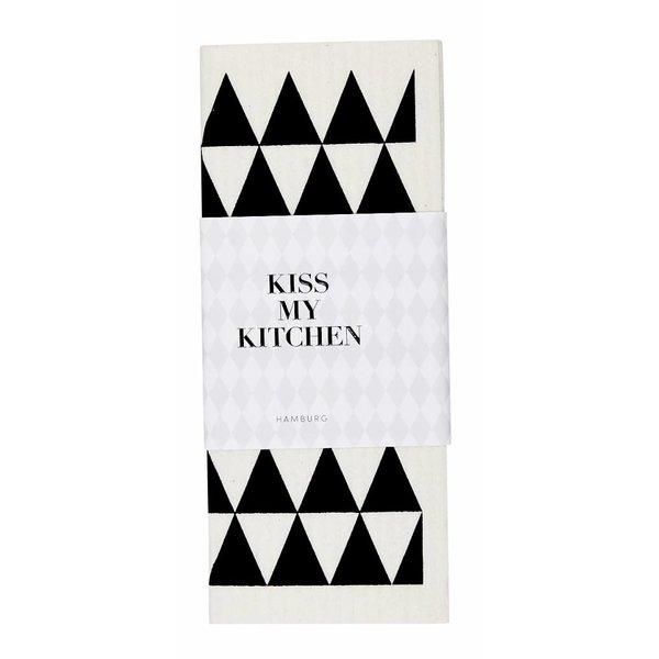 KISS MY KITCHEN Schwammtuch Dreieck weiß/schwarz