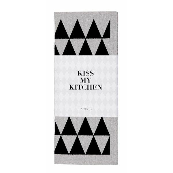 KISS MY KITCHEN Schwammtuch Dreieck grau/schwarz