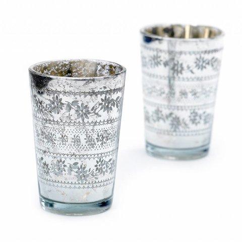 Teelichthalter 2er Set silbern aus Glas