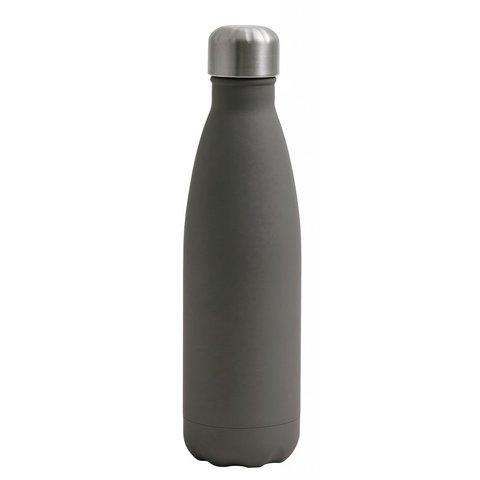 Thermosflasche grau aus Metall und Gummi