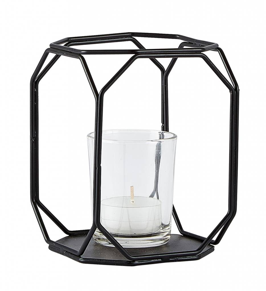 kj collection windlicht schwarz aus metall und glas wohnbeiwerk. Black Bedroom Furniture Sets. Home Design Ideas