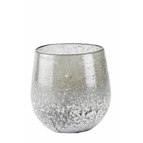 Windlicht grau aus Glas