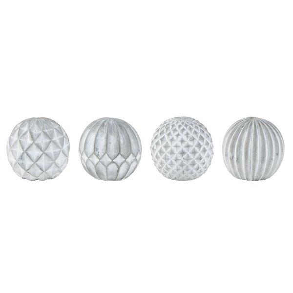 KJ Collection Dekokugeln 4er Set grau aus Zement