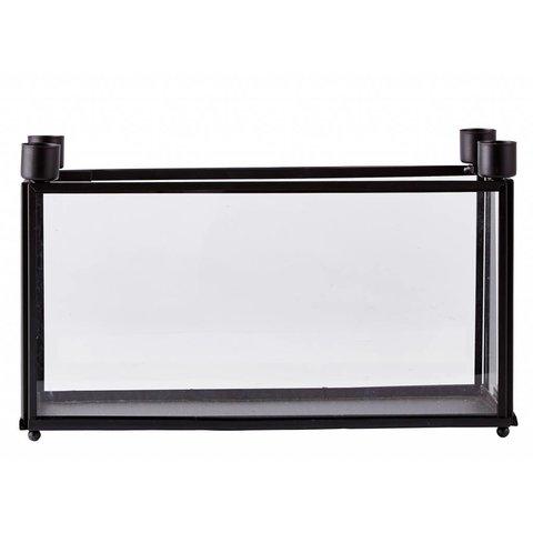 Kerzenhalter mit Box schwarz aus Metall und Glas